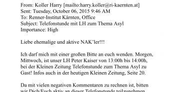 Internes E-Mail der SPÖ Kärnten